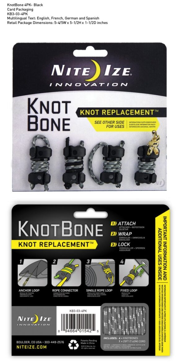 Nite-ize Knotbone No3 4Pack With Cord
